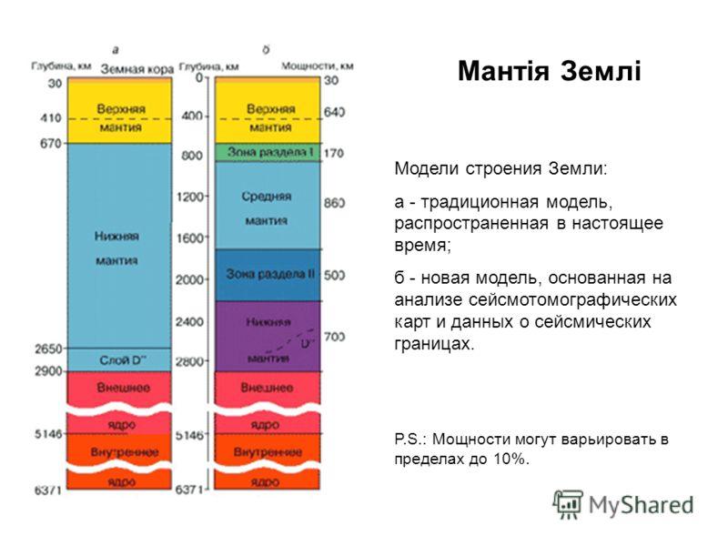 Модели строения Земли: а - традиционная модель, распространенная в настоящее время; б - новая модель, основанная на анализе сейсмотомографических карт и данных о сейсмических границах. P.S.: Мощности могут варьировать в пределах до 10%.