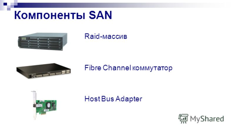 Компоненты SAN Raid-массив Fibre Channel коммутатор Host Bus Adapter