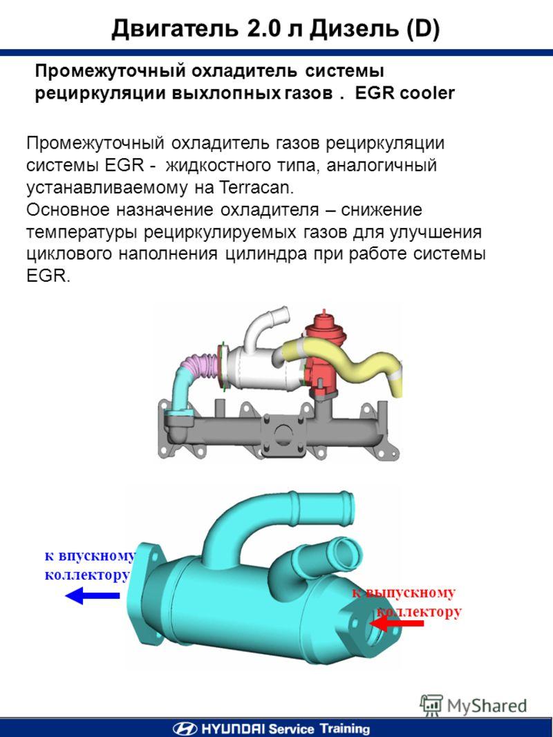Двигатель 2.0 л Дизель (D) Промежуточный охладитель системы рециркуляции выхлопных газов. EGR cooler Промежуточный охладитель газов рециркуляции системы EGR - жидкостного типа, аналогичный устанавливаемому на Terracan. Основное назначение охладителя