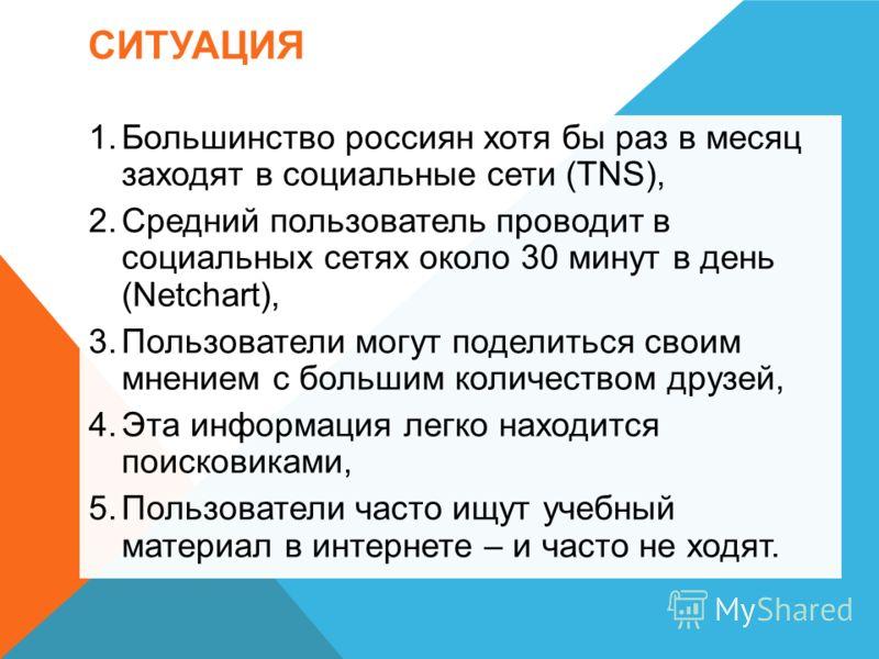 СИТУАЦИЯ 1.Большинство россиян хотя бы раз в месяц заходят в социальные сети (TNS), 2.Средний пользователь проводит в социальных сетях около 30 минут в день (Netchart), 3.Пользователи могут поделиться своим мнением с большим количеством друзей, 4.Эта
