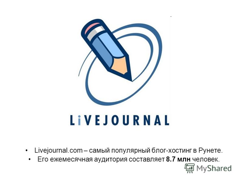Livejournal.com – самый популярный блог-хостинг в Рунете. Его ежемесячная аудитория составляет 8.7 млн человек.