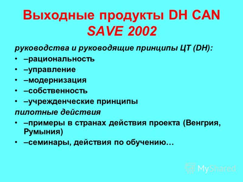 Выходные продукты DH CAN SAVE 2002 руководства и руководящие принципы ЦТ (DH): –рациональность –управление –модернизация –собственность –учрежденческие принципы пилотные действия –примеры в странах действия проекта (Венгрия, Румыния) –семинары, дейст