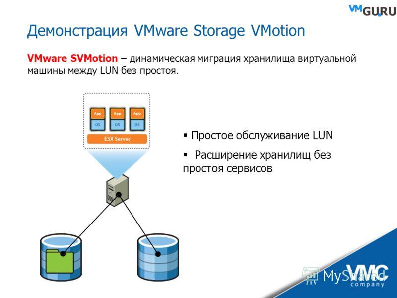 Демонстрация VMware Storage VMotion VMware SVMotion – динамическая миграция хранилища виртуальной машины между LUN без простоя. Простое обслуживание LUN Расширение хранилищ без простоя сервисов