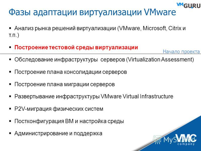 Фазы адаптации виртуализации VMware Анализ рынка решений виртуализации (VMware, Microsoft, Citrix и т.п.) Построение тестовой среды виртуализации Обследование инфраструктуры серверов (Virtualization Assessment) Построение плана консолидации серверов