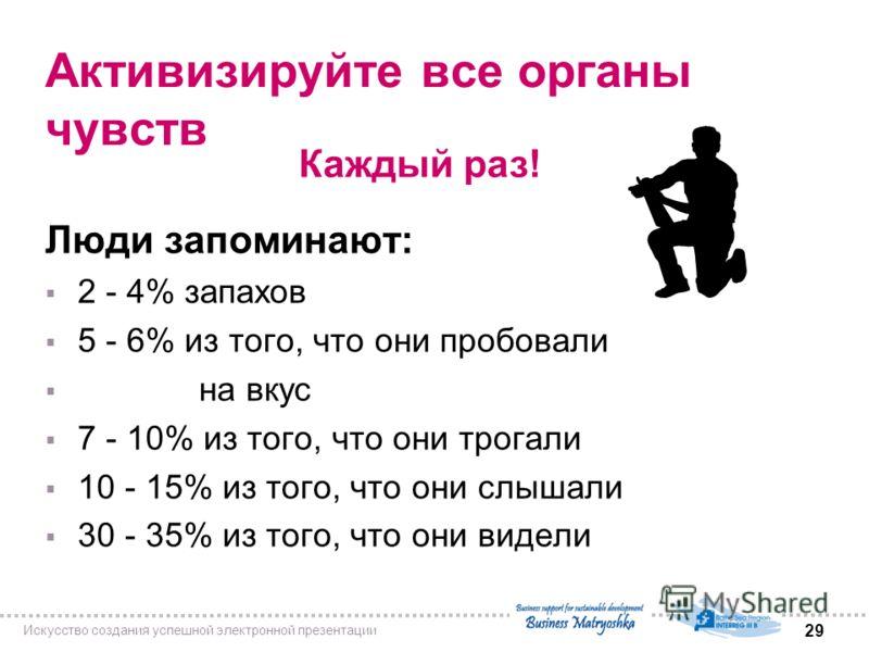 29 Искусство создания успешной электронной презентации Активизируйте все органы чувств Люди запоминают: 2 - 4% запахов 5 - 6% из того, что они пробовали на вкус 7 - 10% из того, что они трогали 10 - 15% из того, что они слышали 30 - 35% из того, что