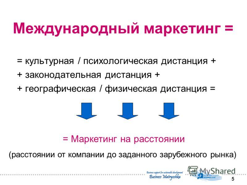 5 Международный маркетинг = = культурная / психологическая дистанция + + законодательная дистанция + + географическая / физическая дистанция = = Маркетинг на расстоянии (расстоянии от компании до заданного зарубежного рынка)