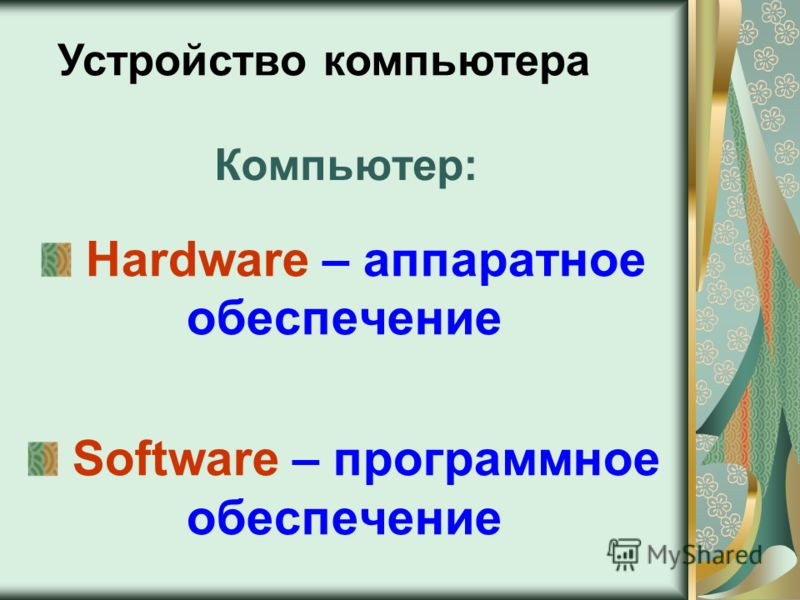 Компьютер: Hardware – аппаратное обеспечение Software – программное обеспечение Устройство компьютера