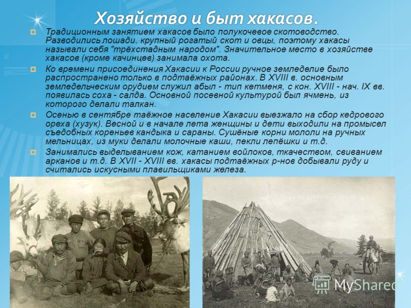 Традиционным занятием хакасов было полукочевое скотоводство. Разводились лошади, крупный рогатый скот и овцы, поэтому хакасы называли себя