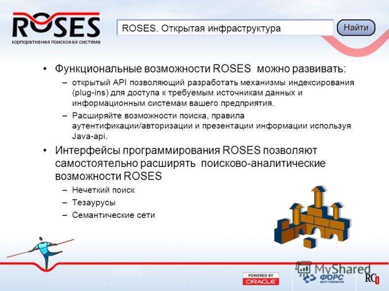 ROSES. Открытая инфраструктура Функциональные возможности ROSES можно развивать: –открытый API позволяющий разработать механизмы индексирования (plug-ins) для доступа к требуемым источникам данных и информационным системам вашего предприятия. –Расшир