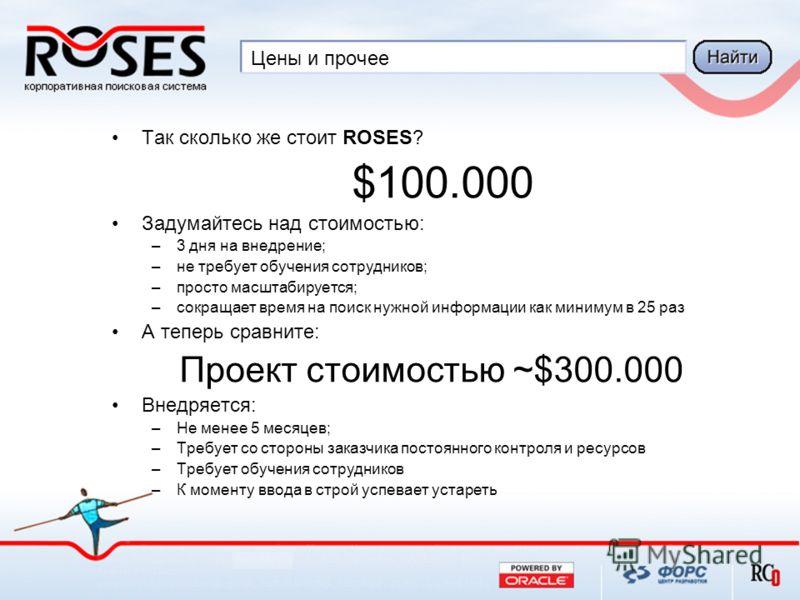 Цены и прочее Так сколько же стоит ROSES? $100.000 Задумайтесь над стоимостью: –3 дня на внедрение; –не требует обучения сотрудников; –просто масштабируется; –сокращает время на поиск нужной информации как минимум в 25 раз А теперь сравните: Проект с