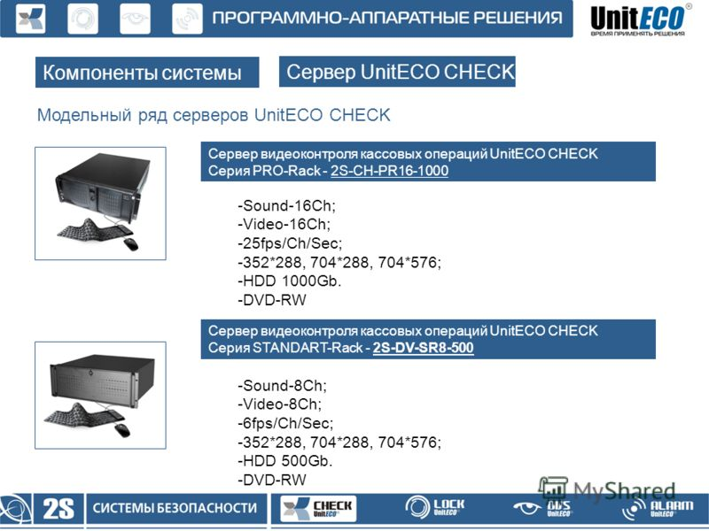 Модельный ряд серверов UnitECO CHECK Компоненты системы Сервер UnitECO CHECK Сервер видеоконтроля кассовых операций UnitECO CHECK Серия PRO-Rack - 2S-CH-PR16-1000 -Sound-16Ch; -Video-16Ch; -25fps/Ch/Sec; -352*288, 704*288, 704*576; -HDD 1000Gb. -DVD-