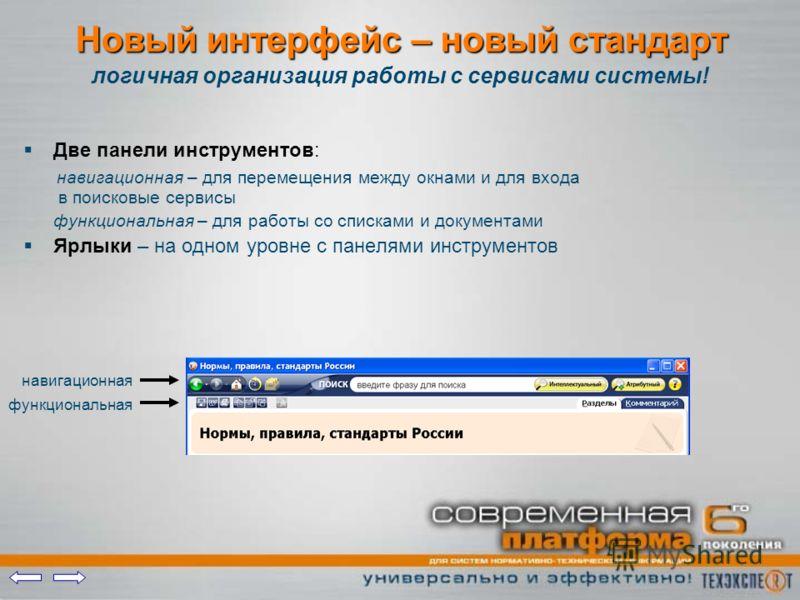 Новый интерфейс – новый стандарт Две панели инструментов: навигационная – для перемещения между окнами и для входа в поисковые сервисы функциональная – для работы со списками и документами Ярлыки – на одном уровне с панелями инструментов логичная орг