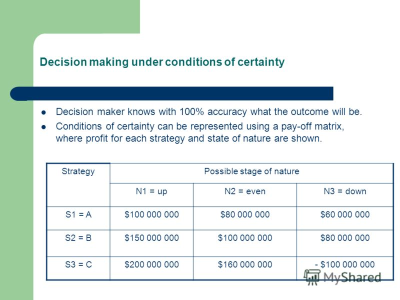 Decision making under conditions of certainty Decision maker knows with 100% accuracy what the outcome will be. Conditions of certainty can be represented using a pay-off matrix, where profit for each strategy and state of nature are shown. StrategyP