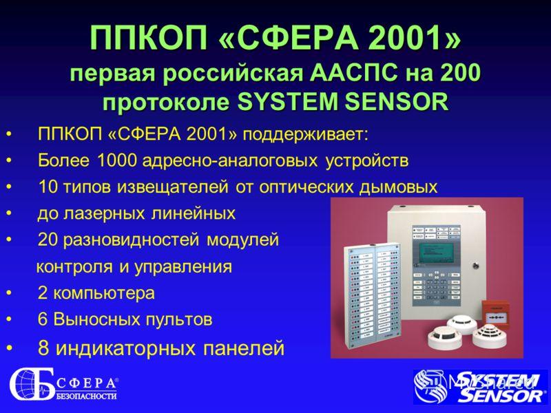 ППКОП «СФЕРА 2001» первая российская ААСПС на 200 протоколе SYSTEM SENSOR ППКОП «СФЕРА 2001» поддерживает: Более 1000 адресно-аналоговых устройств 10 типов извещателей от оптических дымовых до лазерных линейных 20 разновидностей модулей контроля и уп