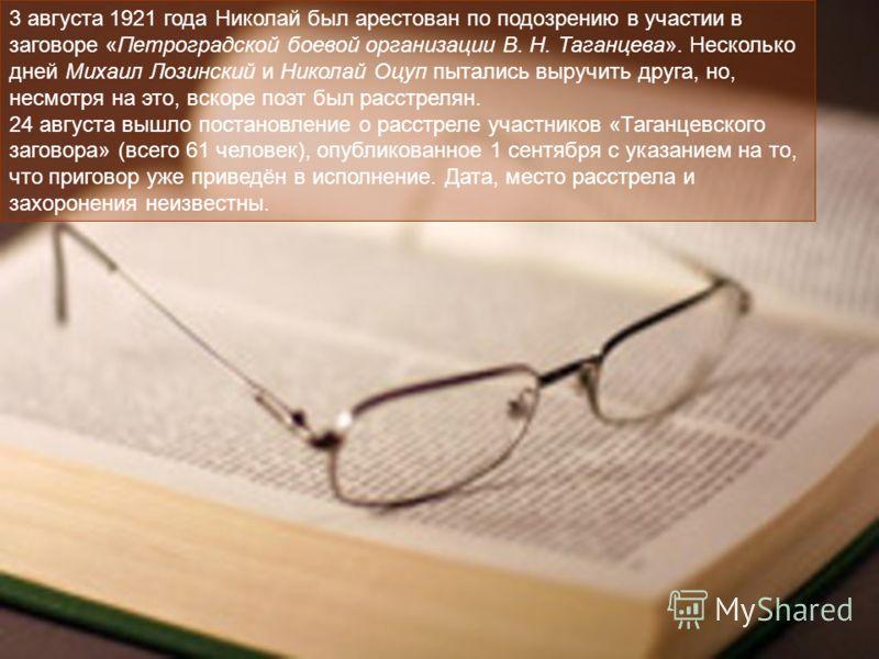 3 августа 1921 года Николай был арестован по подозрению в участии в заговоре «Петроградской боевой организации В. Н. Таганцева». Несколько дней Михаил