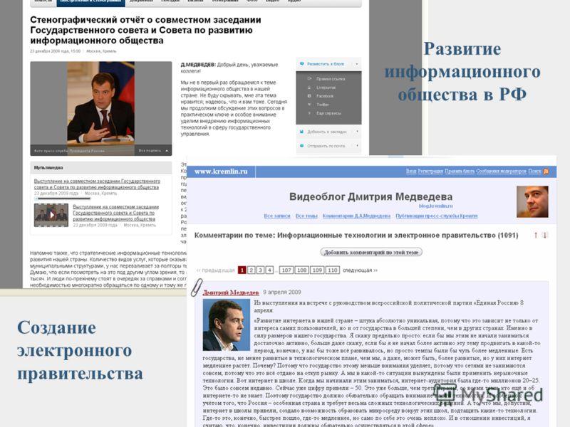 Развитие информационного общества в РФ Создание электронного правительства