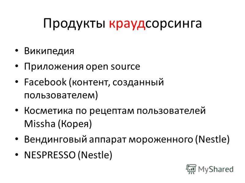 Продукты краудсорсинга Википедия Приложения open source Facebook (контент, созданный пользователем) Косметика по рецептам пользователей Missha (Корея) Вендинговый аппарат мороженного (Nestle) NESPRESSO (Nestle)