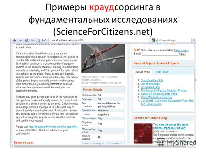 Примеры краудсорсинга в фундаментальных исследованиях (ScienceForCitizens.net)