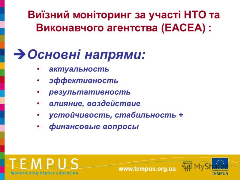 http://eacea.ec.europa.eu/tempus Основні напрями: актуальность эффективность результативность влияние, воздействие устойчивость, стабильность + финансовые вопросы Виїзний моніторинг за участі НТО та Виконавчого агентства (ЕАСЕА) : www.tempus.org.ua