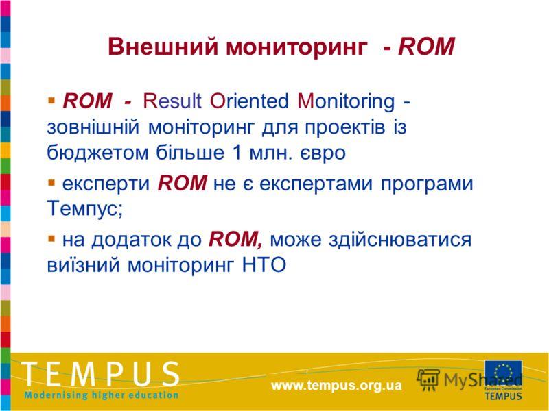 http://eacea.ec.europa.eu/tempus ROM - Result Oriented Monitoring - зовнішній моніторинг для проектів із бюджетом більше 1 млн. євро експерти ROM не є експертами програми Темпус; на додаток до ROM, може здійснюватися виїзний моніторинг НТО Внешний мо