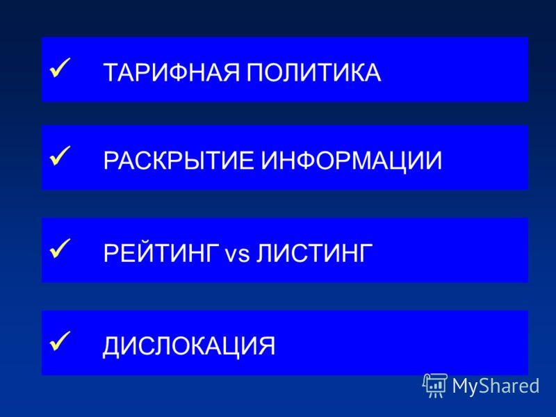 ТАРИФНАЯ ПОЛИТИКА РАСКРЫТИЕ ИНФОРМАЦИИ РЕЙТИНГ vs ЛИСТИНГ ДИСЛОКАЦИЯ