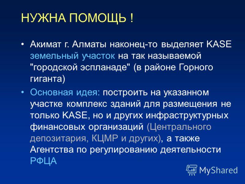 НУЖНА ПОМОЩЬ ! Акимат г. Алматы наконец-то выделяет KASE земельный участок на так называемой