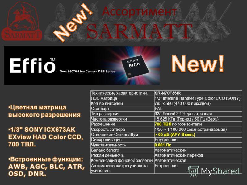 Ассортимент SARMATT Технические характеристики:SR-N70F36IR ПЗС матрица1/3