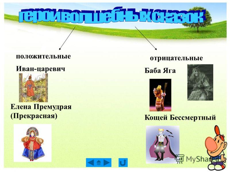 6 положительные отрицательные Иван-царевич Елена Премудрая (Прекрасная) Баба Яга Кощей Бессмертный