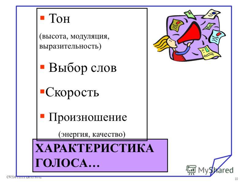 CW536/TTI/IY/LR/05/30/02 10 ХАРАКТЕРИСТИКА ГОЛОСА… Тон (высота, модуляция, выразительность) Выбор слов Скорость Произношение (энергия, качество)