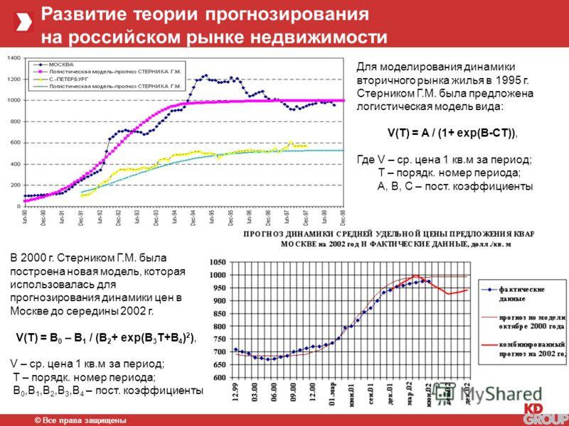 © Все права защищены Развитие теории прогнозирования на российском рынке недвижимости Для моделирования динамики вторичного рынка жилья в 1995 г. Стерником Г.М. была предложена логистическая модель вида: V(T) = A / (1+ exp(B-CT)), Где V – ср. цена 1