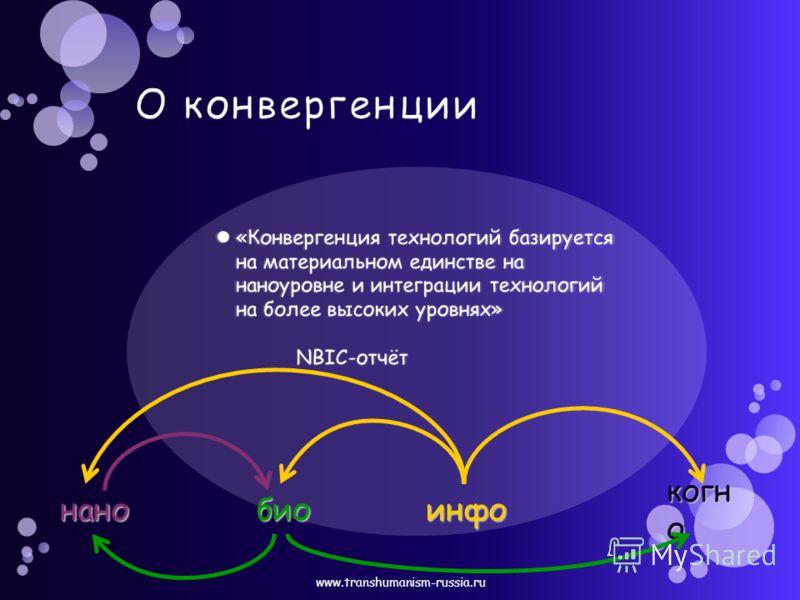 «Конвергенция технологий базируется на материальном единстве на наноуровне и интеграции технологий на более высоких уровнях» NBIC-отчёт «Конвергенция технологий базируется на материальном единстве на наноуровне и интеграции технологий на более высоки