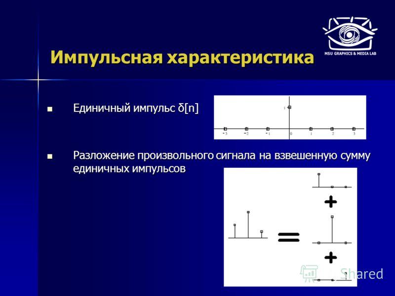 Импульсная характеристика Единичный импульс δ[n] Единичный импульс δ[n] Разложение произвольного сигнала на взвешенную сумму единичных импульсов Разложение произвольного сигнала на взвешенную сумму единичных импульсов