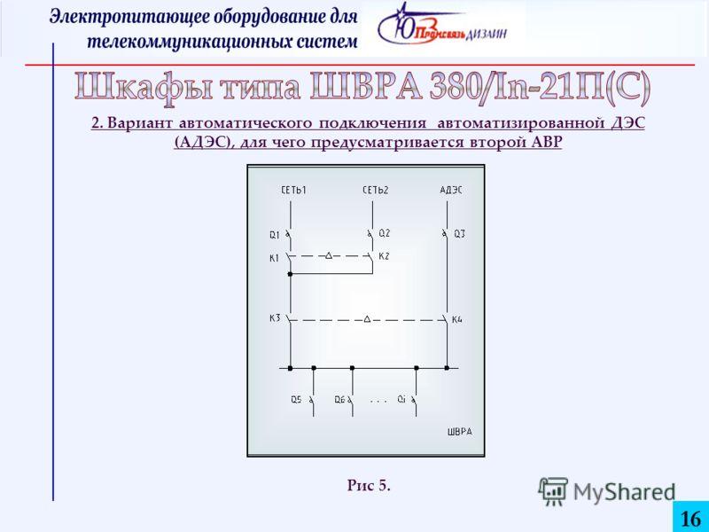 16 2. Вариант автоматического подключения автоматизированной ДЭС (АДЭС), для чего предусматривается второй АВР Рис 5.