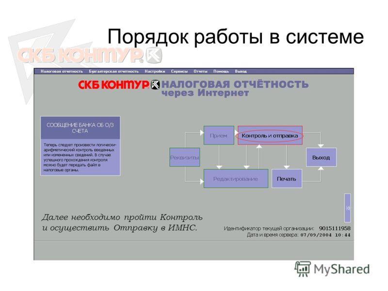 Порядок работы в системе Далее необходимо пройти Контроль и осуществить Отправку в ИМНС.