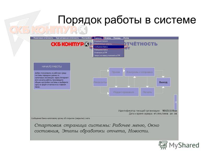 Порядок работы в системе Стартовая страница системы: Рабочее меню, Окно состояния, Этапы обработки отчета, Новости.