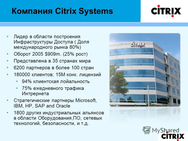 Компания Citrix Systems Лидер в области построения Инфраструктуры Доступа ( Доля международного рынка 80%) Оборот 2005 $909m. (25% рост) Представлена в 35 странах мира 6200 партнеров в более 100 стран 180000 клиентов; 15М конк. лицензий 94% клиентска