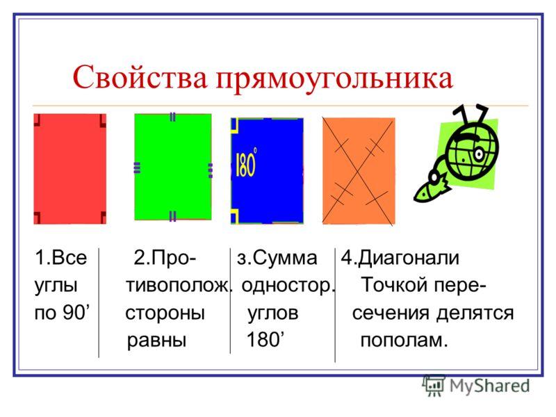 Свойства прямоугольника 1.Все 2.Про- з.Сумма 4.Диагонали углы тивополож. одностор. Точкой пере- по 90 стороны углов сечения делятся равны 180 пополам.