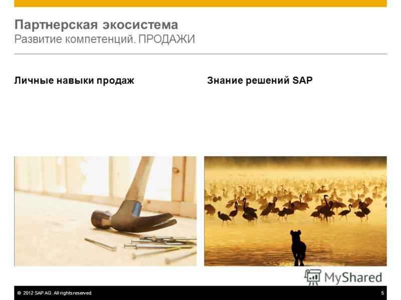 ©2012 SAP AG. All rights reserved.5 Партнерская экосистема Развитие компетенций. ПРОДАЖИ Личные навыки продаж Знание решений SAP