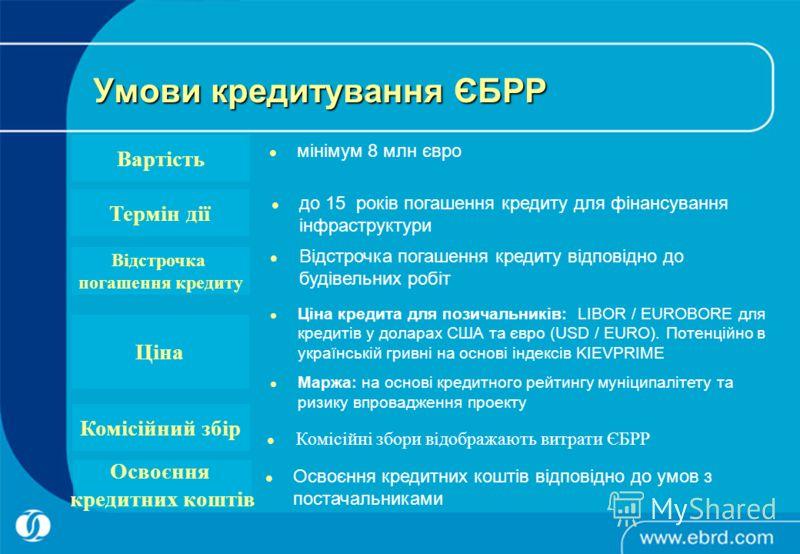 до 15 років погашення кредиту для фінансування інфраструктури Ціна кредита для позичальників: LIBOR / EUROBORE для кредитів у доларах США та євро (USD / EURO). Потенційно в українській гривні на основі індексів KIEVPRIME Маржа: на основі кредитного р
