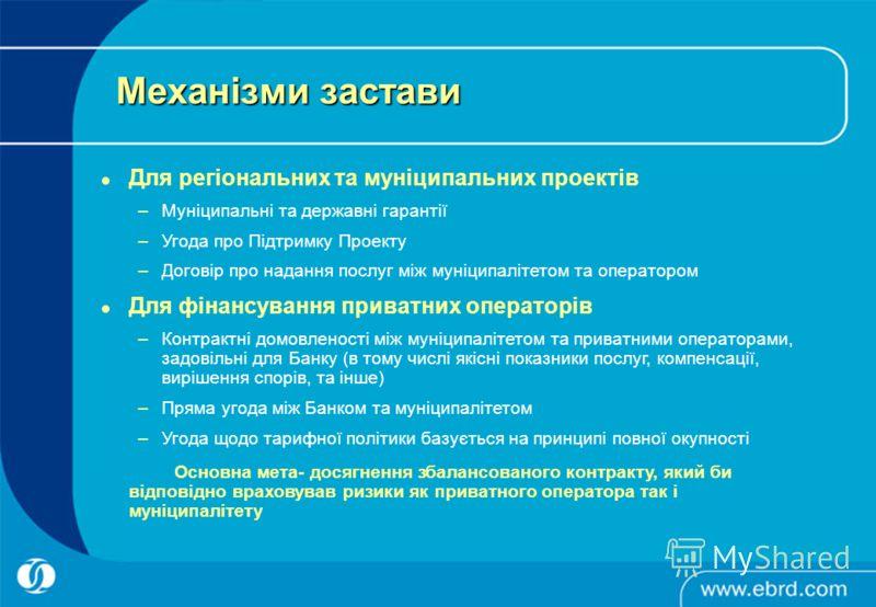 Механізми застави Для регіональних та муніципальних проектів –Муніципальні та державні гарантії –Угода про Підтримку Проекту –Договір про надання послуг між муніципалітетом та оператором Для фінансування приватних операторів –Контрактні домовленості
