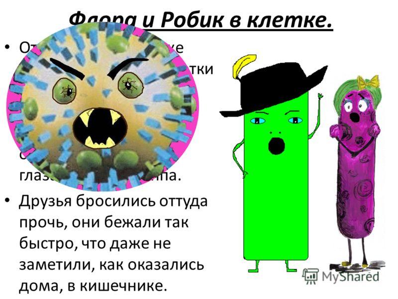 Флора и Робик в клетке. Отважный Робик уже хотел зайти в ядро клетки и выгнать оттуда наглого вируса, но тут на него взглянули два огромных страшных глаза вируса гриппа. Друзья бросились оттуда прочь, они бежали так быстро, что даже не заметили, как