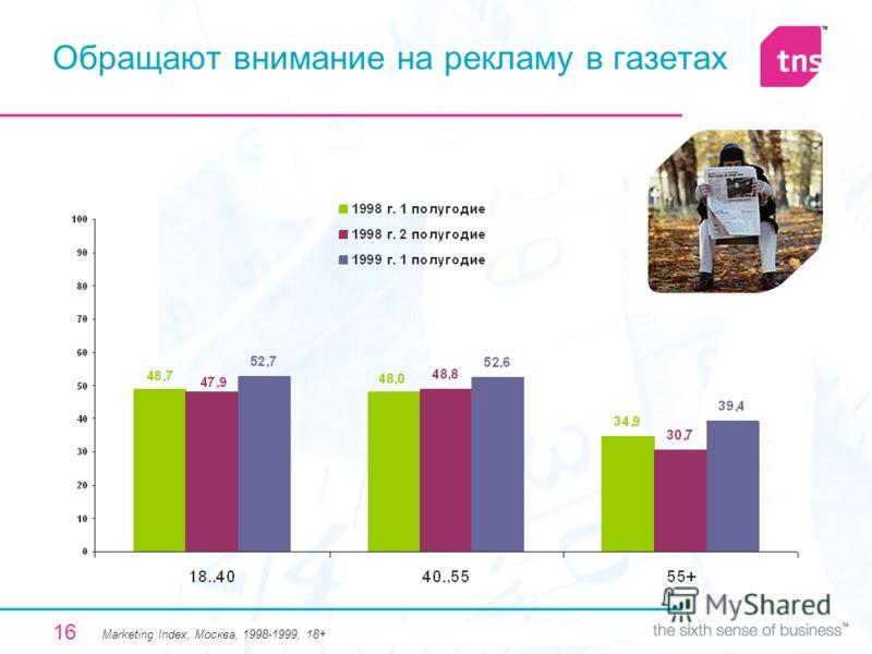 16 Обращают внимание на рекламу в газетах Мarketing Index, Москва, 1998-1999, 18+