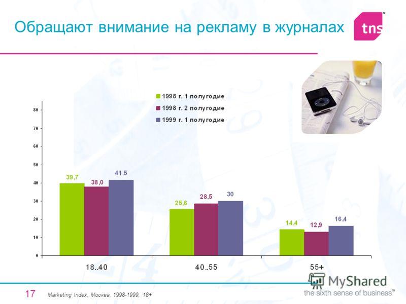 17 Обращают внимание на рекламу в журналах Мarketing Index, Москва, 1998-1999, 18+