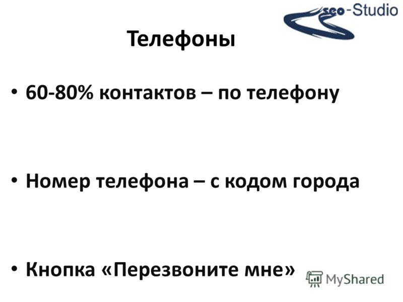 60-80% контактов – по телефону Номер телефона – с кодом города Кнопка «Перезвоните мне» Телефоны