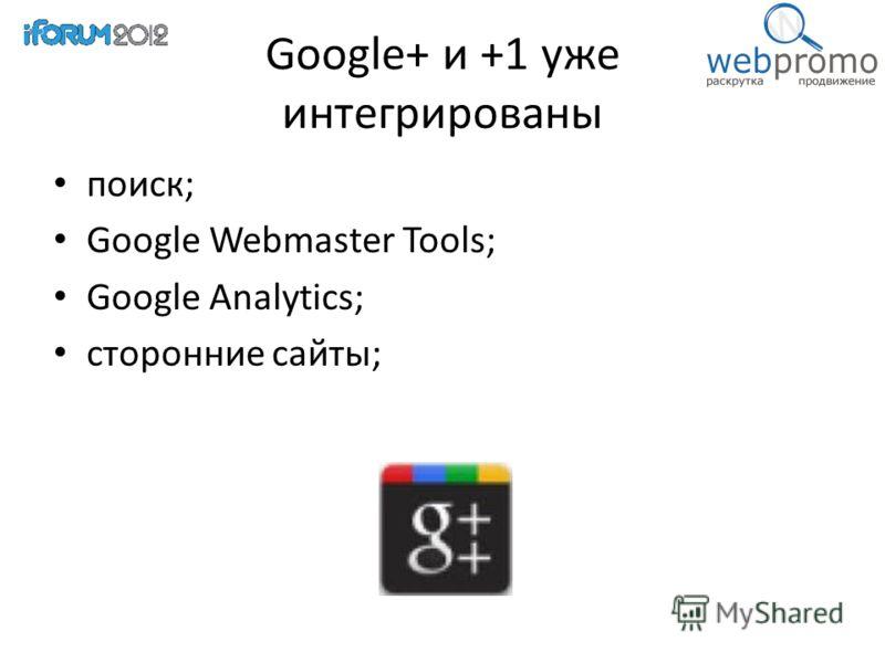 Google+ и +1 уже интегрированы поиск; Google Webmaster Tools; Google Analytics; сторонние сайты;