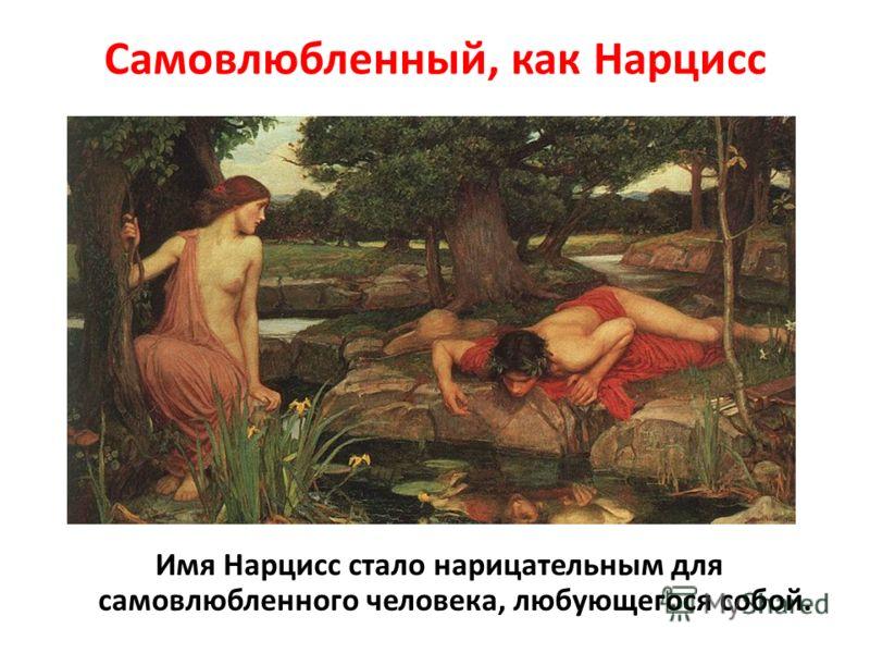 Самовлюбленный, как Нарцисс Имя Нарцисс стало нарицательным для самовлюбленного человека, любующегося собой.