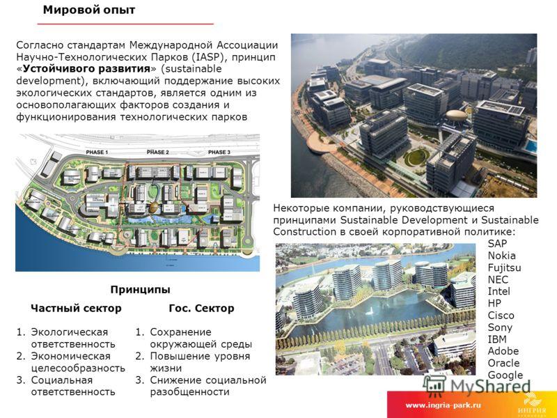 Мировой опыт www.ingria-park.ru 4 Согласно стандартам Международной Ассоциации Научно-Технологических Парков (IASP), принцип «Устойчивого развития» (sustainable development), включающий поддержание высоких экологических стандартов, является одним из