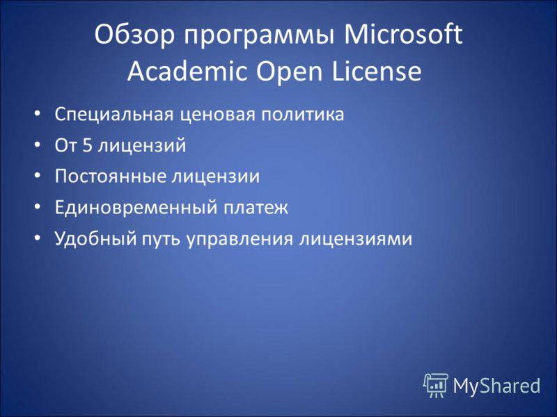 Обзор программы Microsoft Academic Open License Специальная ценовая политика От 5 лицензий Постоянные лицензии Единовременный платеж Удобный путь управления лицензиями