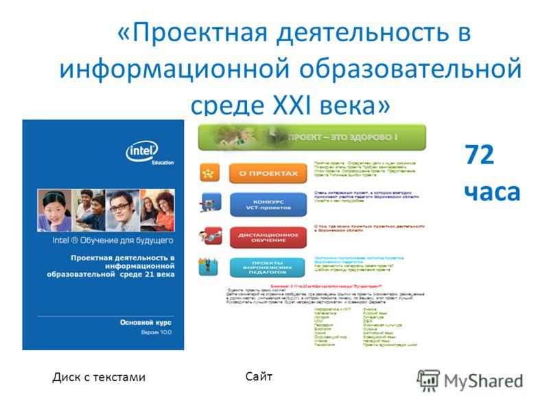 «Проектная деятельность в информационной образовательной среде XXI века» Диск с текстами Сайт 72 часа