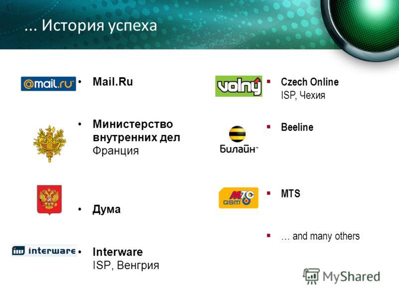 ... История успеха Mail.Ru Министерство внутренних дел Франция Дума Interware ISP, Венгрия Czech Online ISP, Чехия Beeline MTS … and many others